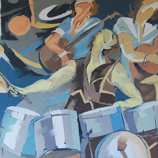 Musical High Note by Wilson Souza, Expressionism Painting, Oil on Canvas, Brown color