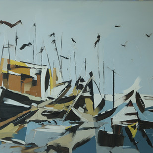Fishing Jetty- Landscape by Wilson Souza, Expressionism Painting, Oil on Canvas, Green color