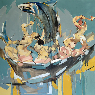 The Prized catch by Wilson Souza, Expressionism Painting, Oil on Canvas, Green color