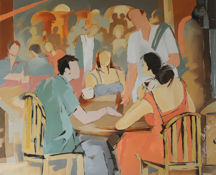 The Restaurant by Wilson Souza, Expressionism Painting, Oil on Canvas, Brown color