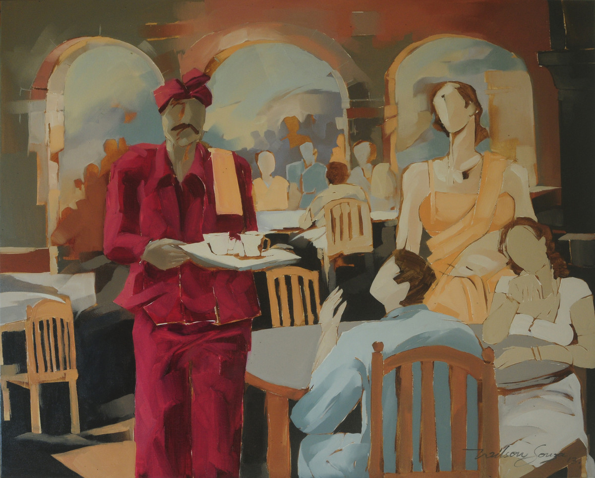 The Restaurant II by Wilson Souza, Expressionism Painting, Oil on Canvas, Brown color