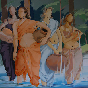By the River Side by Wilson Souza, Expressionism Painting, Oil on Canvas, Brown color