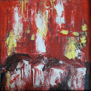 Red abstract-1 on canvas by Shalini Goyal, Abstract Painting, Acrylic on Canvas, Brown color