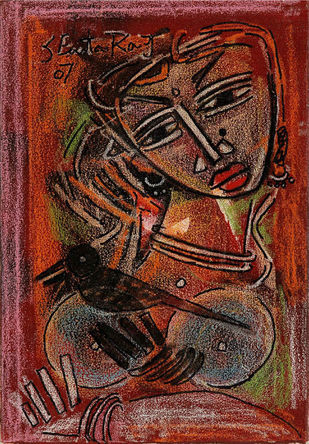 untitled by A P S Easter Raj, Expressionism Painting, Acrylic on Canvas, Brown color