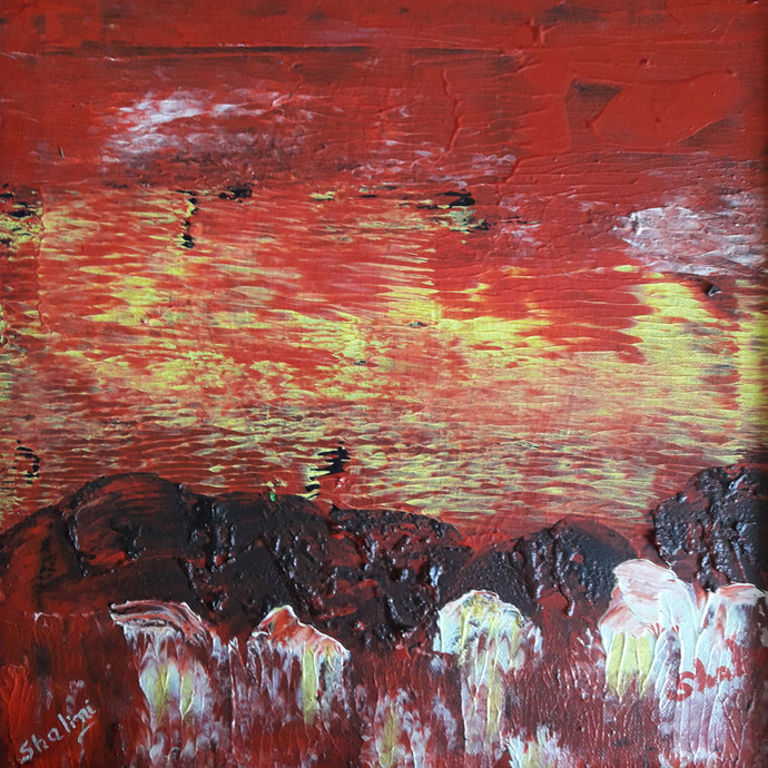 Red abstract-3 on canvas by Shalini Goyal, Abstract Printmaking, Acrylic on Canvas, Brown color