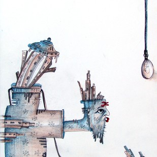 untitled by Arun Kholiya, Illustration Painting, Mixed Media on Paper, White color