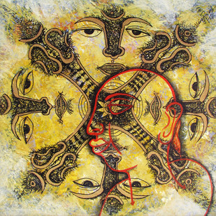 untitled by Vinay Trivedi, Traditional Painting, Mixed Media on Canvas, Beige color