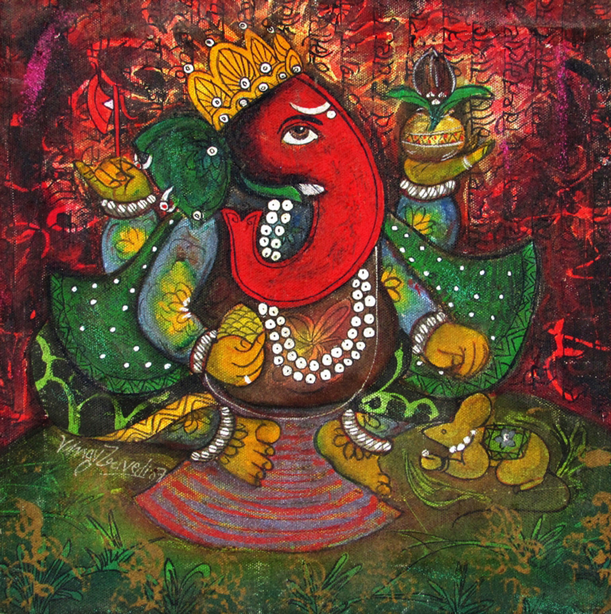 untitled by Vinay Trivedi, Decorative Painting, Acrylic on Canvas, Brown color