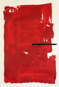 Void by Ishita, Abstract Painting, Acrylic on Paper, Red color