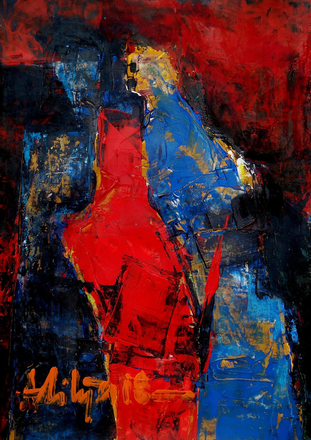 RED by Aditya Dev, Abstract Painting, Acrylic on Paper, Brown color
