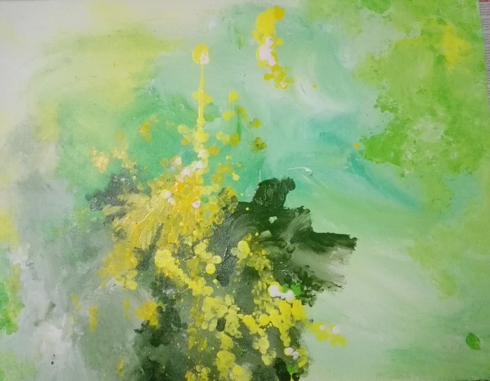 Colours of Spring by Broti Ganguly, Abstract Painting, Acrylic on Canvas, Green color
