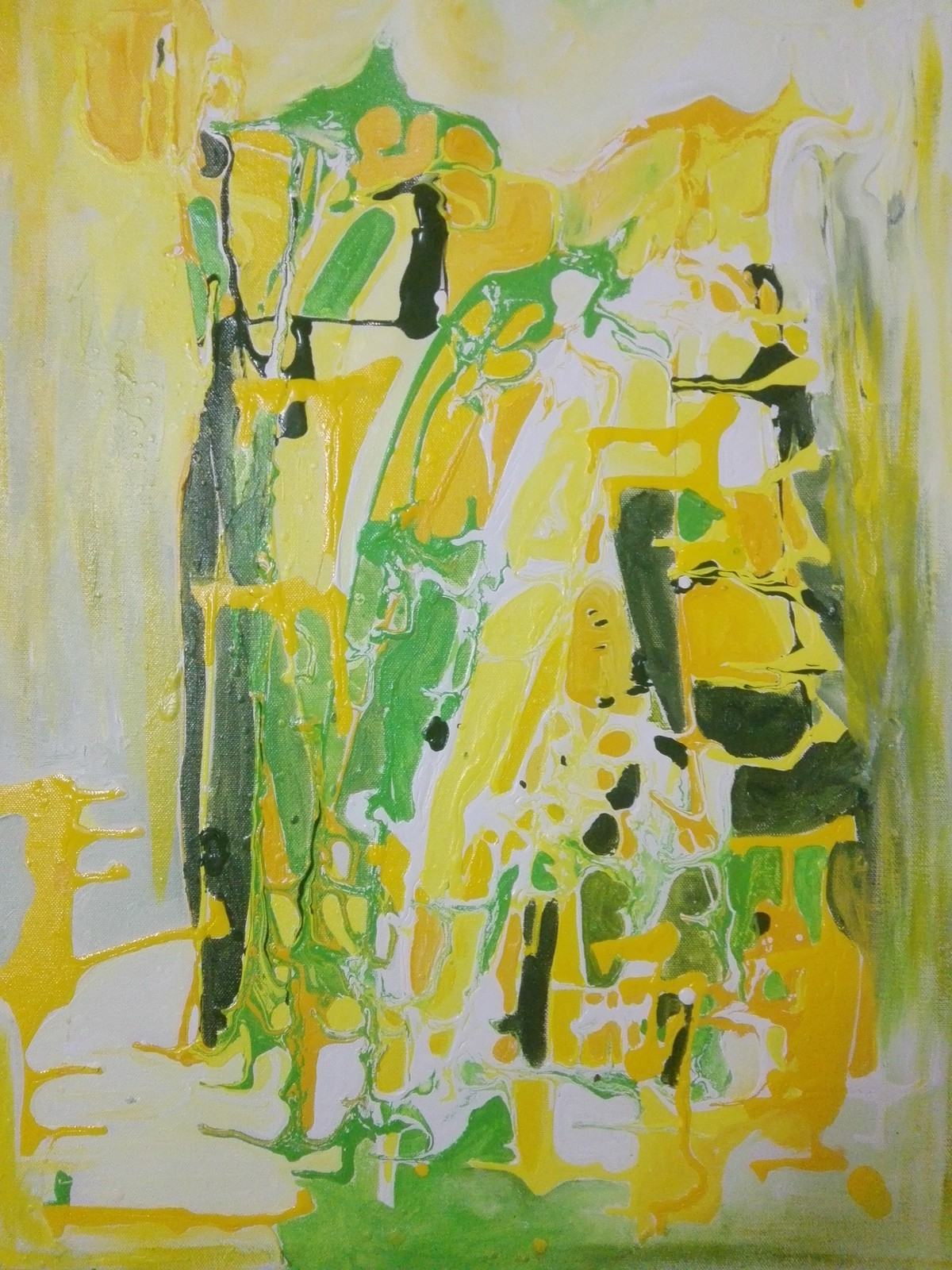 Yellow Mosiac by Broti Ganguly, Abstract Painting, Acrylic on Canvas, Beige color