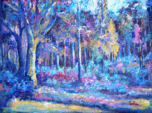 Glorious Nature by Usha Shantharam, Impressionism Painting, Acrylic on Canvas, Blue color