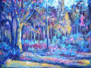 Glorious Nature by Usha Shantharam, Impressionism Painting, Acrylic on Canvas, Blue color