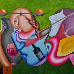 untitled by Hasmukh Patel, Decorative Painting, Oil on Canvas, Green color
