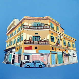 Film Colony -2, Jaipur by Ajay Mishra, Impressionism Painting, Acrylic on Canvas, Cyan color
