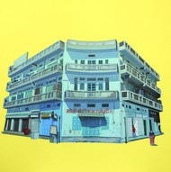 Film Colony -4, Jaipur by Ajay Mishra, Impressionism Painting, Acrylic on Canvas, Yellow color