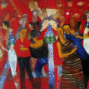 Party time by Jeevan Salian, Expressionism Painting, Acrylic on Canvas, Brown color