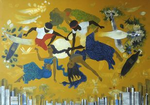 Aerial dance on City skyline by Jeevan Salian, Expressionism Painting, Acrylic on Canvas, Green color