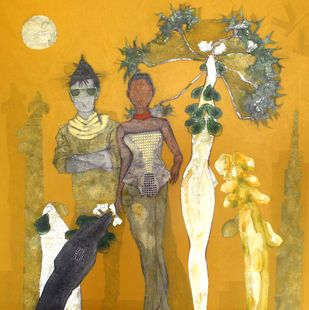 Catwalk under Papaya Tree by Jeevan Salian, Expressionism Painting, Acrylic on Canvas, Beige color