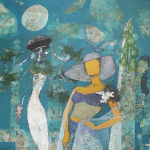 Catwalk under Papaya Tree II by Jeevan Salian, Expressionism Painting, Acrylic on Canvas, Green color