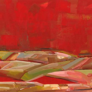 Sunset at Desert by Jeevan Salian, Abstract Painting, Acrylic on Paper, Red color