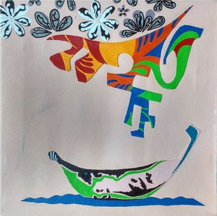 Nature Boat Series by Barkha jain, Expressionism Painting, Mixed Media on Canvas, Gray color