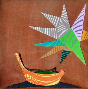 Nature Boat Series by Barkha jain, Expressionism Painting, Mixed Media on Canvas, Brown color