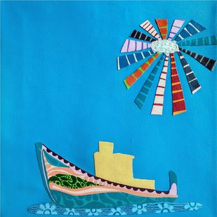 Nature Boat Series by Barkha jain, Abstract Painting, Mixed Media on Canvas, Cyan color