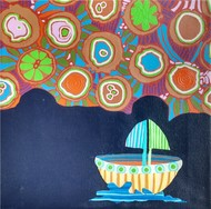 Nature Boat Series by Barkha jain, Abstract Painting, Mixed Media on Canvas, Blue color