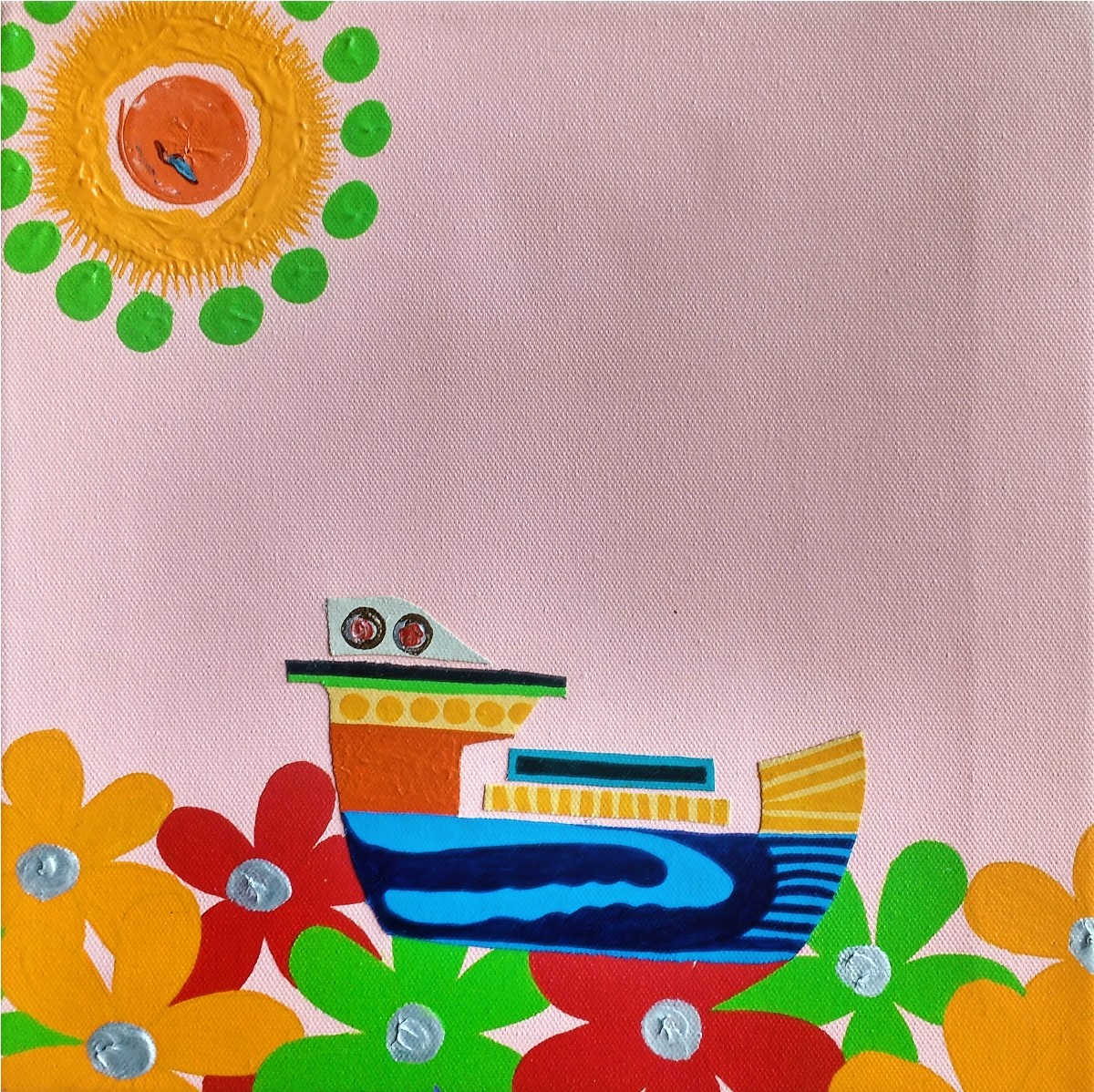 Nature Boat Series by Barkha jain, Expressionism Painting, Mixed Media on Canvas, Pink color