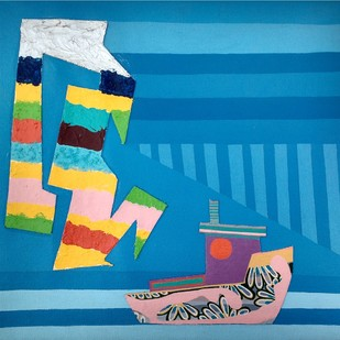 Nature Boat Series by Barkha jain, Geometrical Painting, Mixed Media on Canvas, Blue color