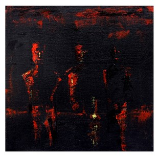 untitled by Mahesh Singh, Abstract Painting, Acrylic on Canvas, Black color