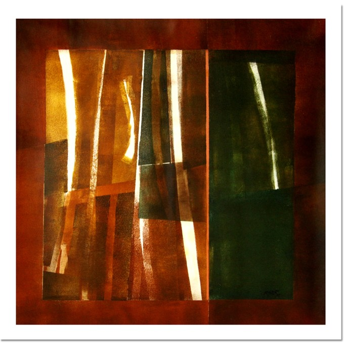 untitled by Ramesh Kher, Abstract Painting, Mixed Media on Canvas, Brown color