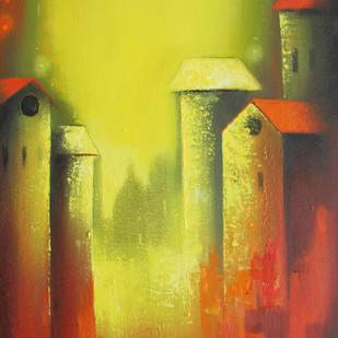 Mindscape by Somnath Bothe, Impressionism Painting, Acrylic on Canvas, Brown color