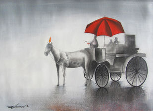 Monsoon Ride by Somnath Bothe, Impressionism Painting, Charcoal on Canvas, Gray color