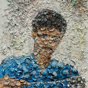 Portrait of a meme by Viraag Desai, Expressionism Painting, Mixed Media on Canvas, Beige color