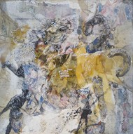 Chimera Series - 2 by Viraag Desai, Abstract Painting, Mixed Media on Canvas, Gray color