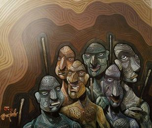 The Six Bodyguards by Tamojit Bhattacharya, Conceptual Painting, Acrylic on Canvas, Brown color