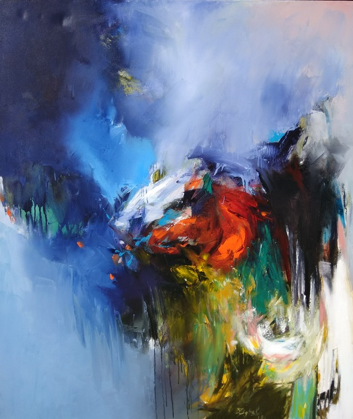 Untitled by Javid Iqbal, Abstract Painting, Acrylic on Canvas, Blue color