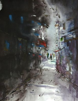 The street by Javid Iqbal, Expressionism Painting, Watercolor and charcoal on paper, Gray color