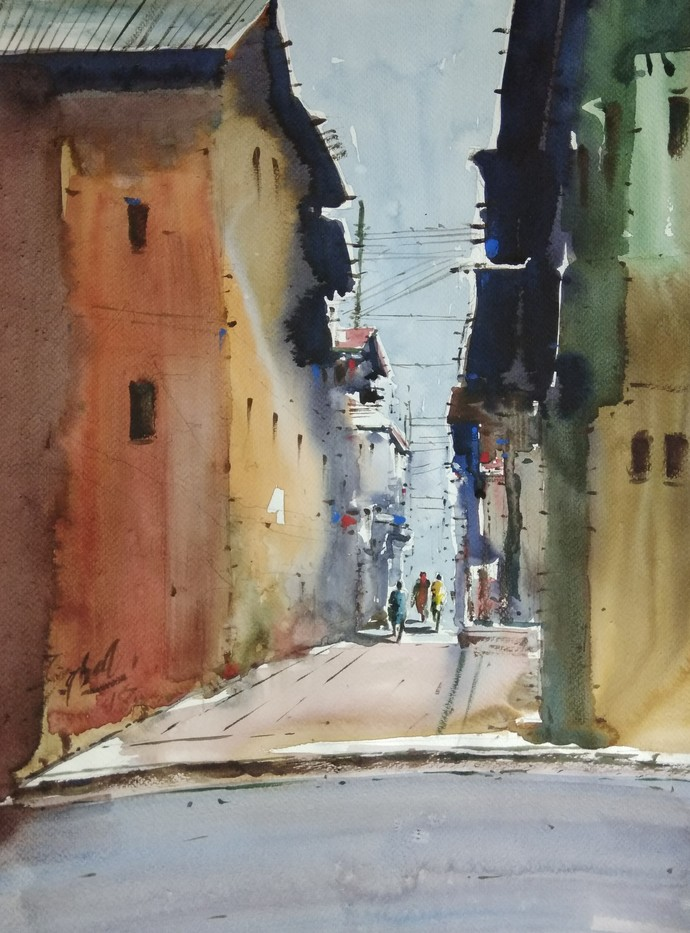 Kashmir by Javid Iqbal, Impressionism Painting, Watercolor and charcoal on paper, Brown color