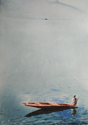 Boatman in misty Dal lake by Javid Iqbal, Impressionism Painting, Watercolor and charcoal on paper, Gray color