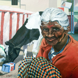 Old woman and the cow by Carl Verhulst, Photorealism Painting, Acrylic on Canvas, Brown color