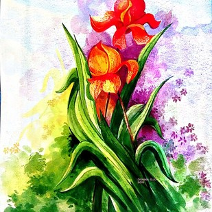 May Flower by Donna Jolly Jacob , Impressionism Painting, Watercolor on Paper, Green color