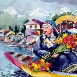 Kashmiri girl Digital Print by Donna Jolly Jacob ,Impressionism