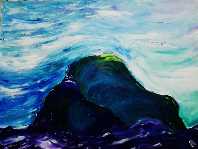 Rocky Seas Finger printing by Broti Ganguly, Impressionism Painting, Acrylic on Canvas, Blue color
