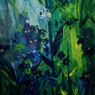 Secret Garden by Broti Ganguly, Abstract Painting, Acrylic on Canvas, Green color