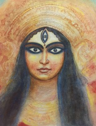 Durga by Jogen Chowdhury, Expressionism Painting, Inkjet Print on Archival Paper, Brown color