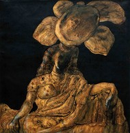 Women with lotus by Jogen Chowdhury, Expressionism Painting, Inkjet Print on Archival Paper, Brown color